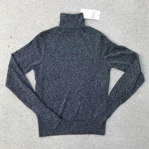 NWT Zara fitted slim shimmer black turtleneck